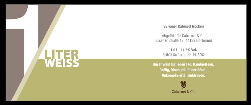 1 Liter Weiss Silvaner, Cabernet & Co.
