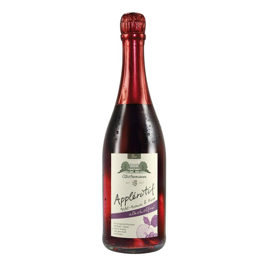 Appléritif mit Apfel-Aronia mit Rose, 0,75 L, Bioprodukt, alkoholfrei, vegan - Clostermann